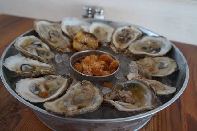 Who doesn't like a good oyster on the half shell? These local North Carolina oysters are a big hit with the weekend crowds.