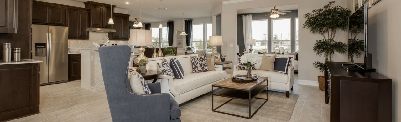 The living room in a model home built by Del Webb, a homebuilder for 55+ communities in Wilmington, NC.