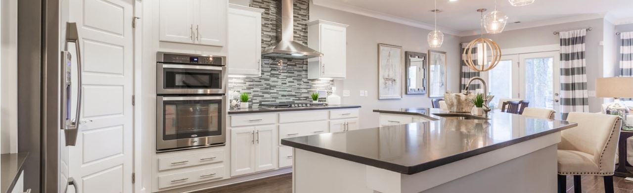 The kitchen inside of a Pulte model home at Riverlights in Wilmington, NC.